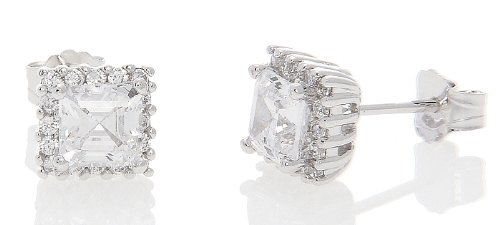 Silver Halo Style Asscher Cut with Round Side Cubic Zirconia Earrings (5 Millimeters)