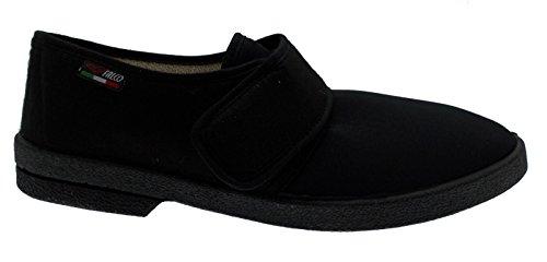pantofola ciabatta uomo cotone elasticizzato velcro fisioterapia extra large 45 nero