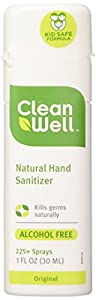 Cleanwell All-Natural Hand Sanitizer Original Scent, Pocket Size, 1-Ounce Spray Bottles (Pack of 6)
