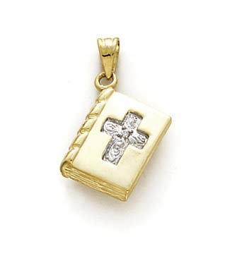 14k Diamond Prayer Book Pendant - JewelryWeb