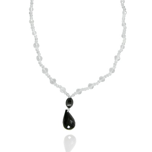 Black Onyx Drops Pendant Necklace with Crystal Bead Necklace, 21+2