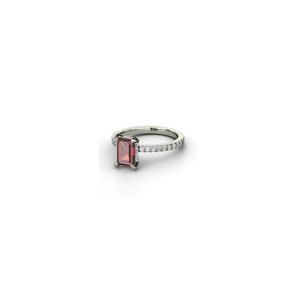 Reese Ring, Emerald Cut Red Garnet 14K White Gold Ring