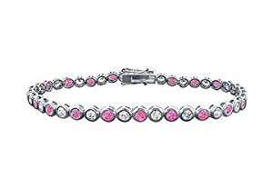 Pink Sapphire and Diamond Tennis Bracelet : Platinum - 4.00 CT TGW