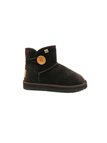 Stivaletto Ugg style basso in lana merinos con bottone laterale. MARRONE, 37 MainApps
