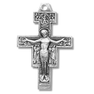 Sterling Silver Medium San Damiano Cross Medal with 18