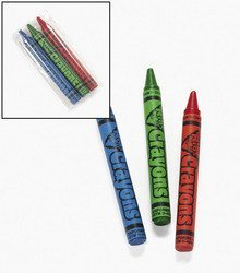 """24 Packs ~ Cellophane-Wrapped Crayons ~ 3 Crayons Per Pack ~ Approx. 2 3/4"""" ~ Red, Green, Blue ~ New front-932348"""
