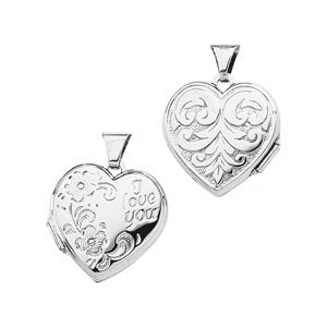 Genuine IceCarats Designer Jewelry Gift Sterling Silver I Love You Heart Shaped Locket. 17.25X18.00 Mm I Love You Heart Shaped Locket In Sterling Silver