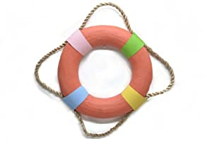 Life Ring Saver Preserver Wood Key West Colorful Water Nautical Tropical Home Decor Wall Art Hanging Deck Lake Pool Bed Bath Bar