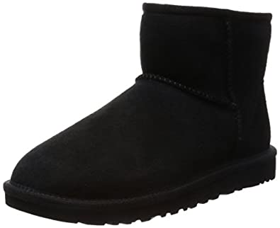 UGG Australia Women's Classic Mini Black Sheepskin Boot 5 M US
