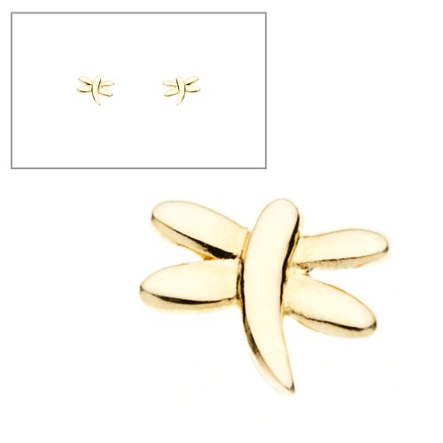 10KT Gold Tiny Dragonfly Earrings