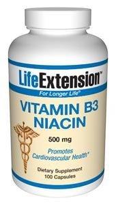 Life Extension Vitamin B3 Niacin | 500 mg 100 capsules ( Multi-Pack)