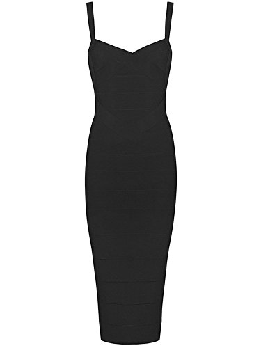 Alice & Elmer Women's Rayon Knee Bandage Bodycon Party Dress Black L