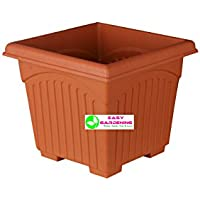 "Easy Gardening 12"" Square Gardening Planters- Terracotta Color Pots (6)"
