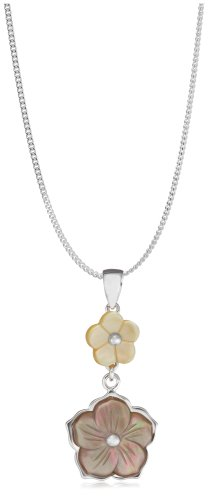 Silver Ladies' P3223 Yellow Mother-of-Pearl and Brown Mother-of-Pearl and Two Flower Pendant