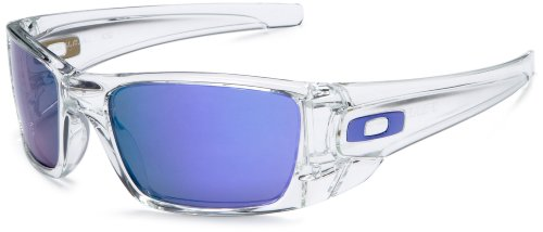 Oakley Men's Iridium Fuel Cell Rectangular Sunglasses,Polished Clear Frame/Violet Iridium Lens,one size