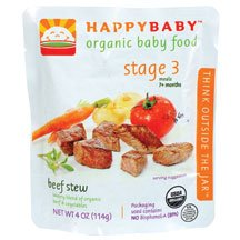 HAPPYBABY Organic Baby Food, Stage 3, Beef Stew, 4-Ounce Pouch ( Value Bulk Multi-pack)
