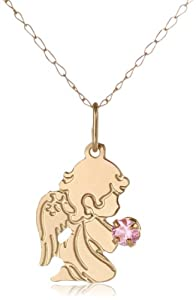 """14k Yellow Gold Pink Cubic Zirconia Angel Girl Pendant Necklace, 13"""""""
