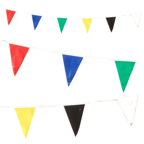 6 Multi Colour Bunting Triangle Pennant Flags 33 feet / 10 Metres [M1001]