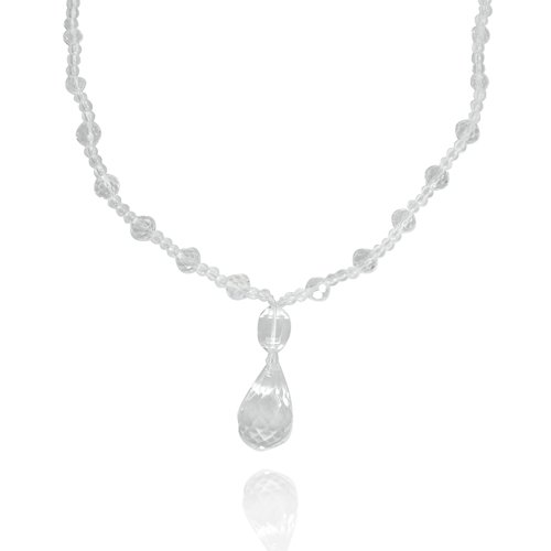 Crystal Drops Pendant Necklace with Bead Necklace, 21+2