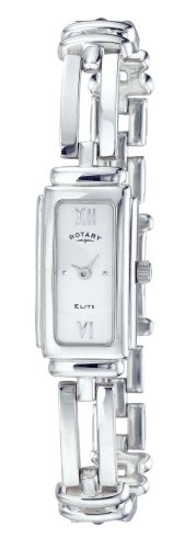 Rotary Ladies Rectangular Silver Dial Sterling Silver Bracelet Watch
