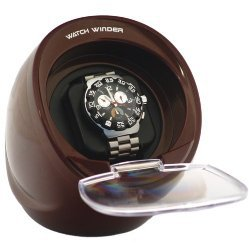 Burgundy color single automatic watch winder.