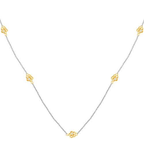 10k Two-Tone Gold Diamond Chain w/ Yellow Component Necklace (1/10 cttw, I-J Color, I3 Clarity), 36