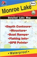 Monroe Lake Waterproof Fishing Map (Indiana Fishing Map Series, L192) Fishing Hot Spots