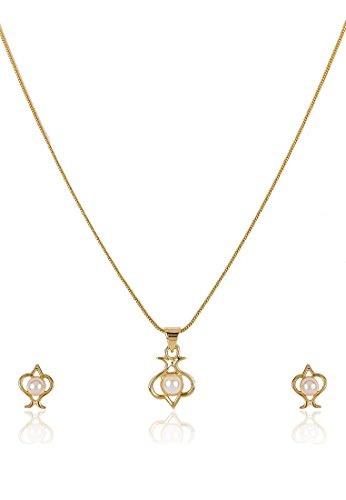 Estelle Estelle Gold Plated Necklace Set With Pearl For Women (Yellow)