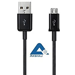 AKSHAJ Micro USB MOBILE CHARGING Sync Genuine Data Cable USB Charger for ANDROID Smartphone Mobiles Samsung Nokia Lg Micromax Sony HTC - Black - 2 Years Warranty