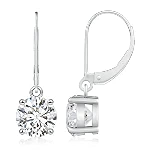 Cyber Monday and Black Friday - Prong Set Round Diamond Leverback Earrings in Platinum