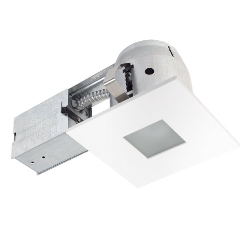 Globe Electric 90653 4 Inch Recessed Lighting Kit, Bathroom, Square Matte White Finish With Frosted Glass, Spot Light