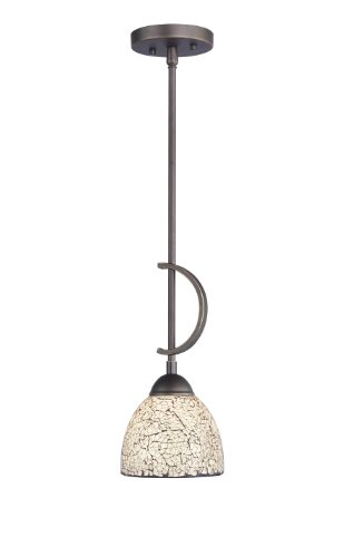 Woodbridge Lighting 13023MEB-M21WHT North Bay 1-Light Mini-Pendant, 6-Inch by 45-1/4-Inch, Metallic Bronze