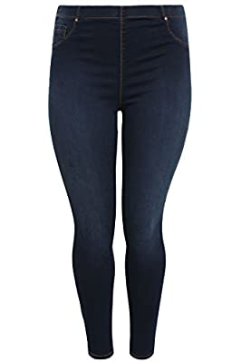 Yoursclothing Plus Size Womens Indigo Denim Jeggings With Faded Leg Detail