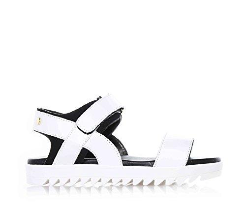 CIAO BIMBI - Sandalo bianco/nero, in pelle, curata in ogni dettaglio, made in italy, ragazza, Donna, Bambina-39