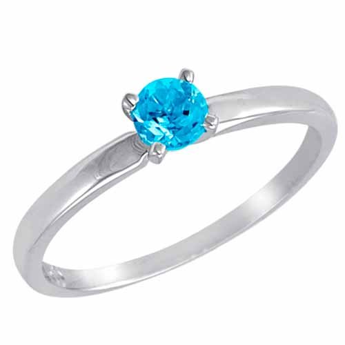 DivaDiamonds Sterling Silver Round Solitaire Blue Topaz Ring (0.45 ctw) - Size L 1/2