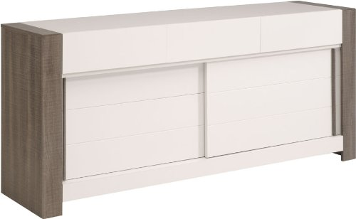 Parisot Malt Liquorice Oak Sideboard with Particle Boards Plus Paper Foil Plus Shiny Melamine, 199.4 x 89.6 x 49.6 cm, White