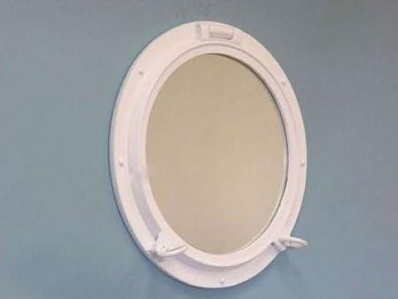 "Gloss White Porthole Mirror 20"""