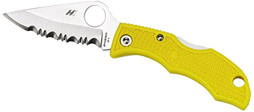 Spyderco Ladybug 3 H-1 Rust Free Serrated Edge Knife, Yellow