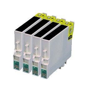 T0481 - 4 Haute Capacité Cartouches d'encre Compatibles Noir pour Epson Stylus Photo R300 R200 R220 RX620 RX500 R340 RX600 RX640 R300M R320 R330 RX630 RX300 RX320 R350 - Avec Puce