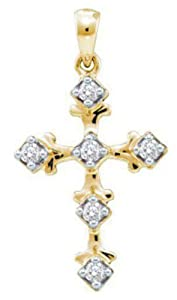 Pricegems 10K Yellow Gold Ladies Round Brilliant Diamond Cross Pendant (0.1 cttw, I-J Color, I2/I3 Clarity)
