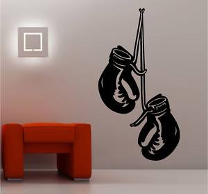Online design boxing gloves wall art sticker vinyl bedroom for Boxing bedroom ideas