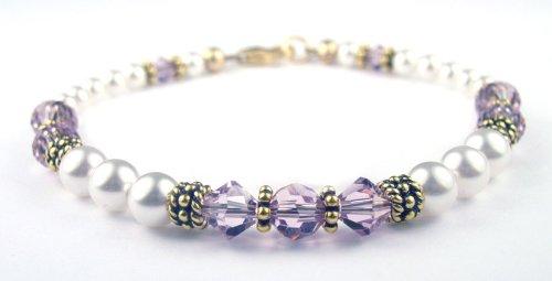 Alexandrite Gold Filled Swarovski Crystal Beaded Pearl Bracelets