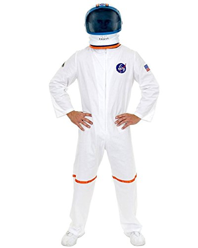 Adult Men's White NASA Astronaut Space Suit Costume And Helmet Bundle