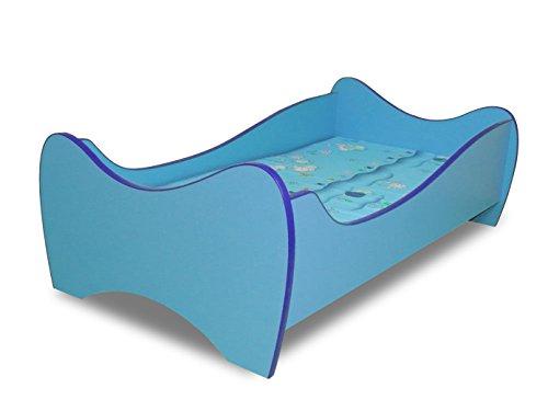 Lit enfant bleu+sommier+matelas 140x70 cm