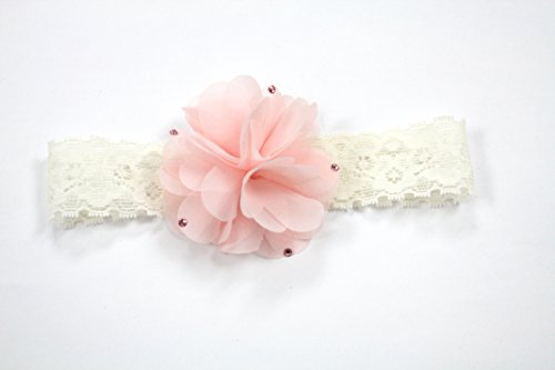 Ivory Lace Headband With Chiffon Flower (3-6Months, Ivory/Lt Pink) front-1021771