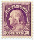 USA Collectible Postage Stamps: 1917 Franklin 50 Cent Red Violet. SC 517. Mint Non Hinged - 1