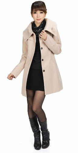 LANHUACAO Woolen Coat with Belt Outwear Women 3XL Beige