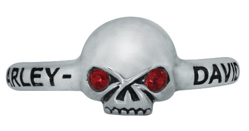Harley-Davidson Womens .925 Silver Filigree Skull with Red Crystal Eyes Stackable Ring by Mod Jewelry (6)
