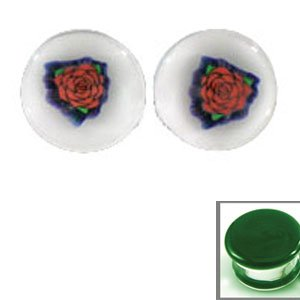Rose Image on Satin Green Color Background Single Flare Handmade Glass Plugs - 3/4