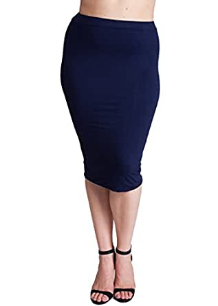 navy blue plus size banded stretch waist pencil